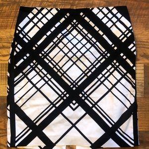 WHBM black and white grosgrain ribbon pencil skirt